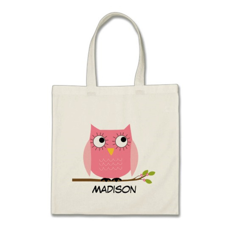 little bird new style beauty pink owl special beach bag canvas
