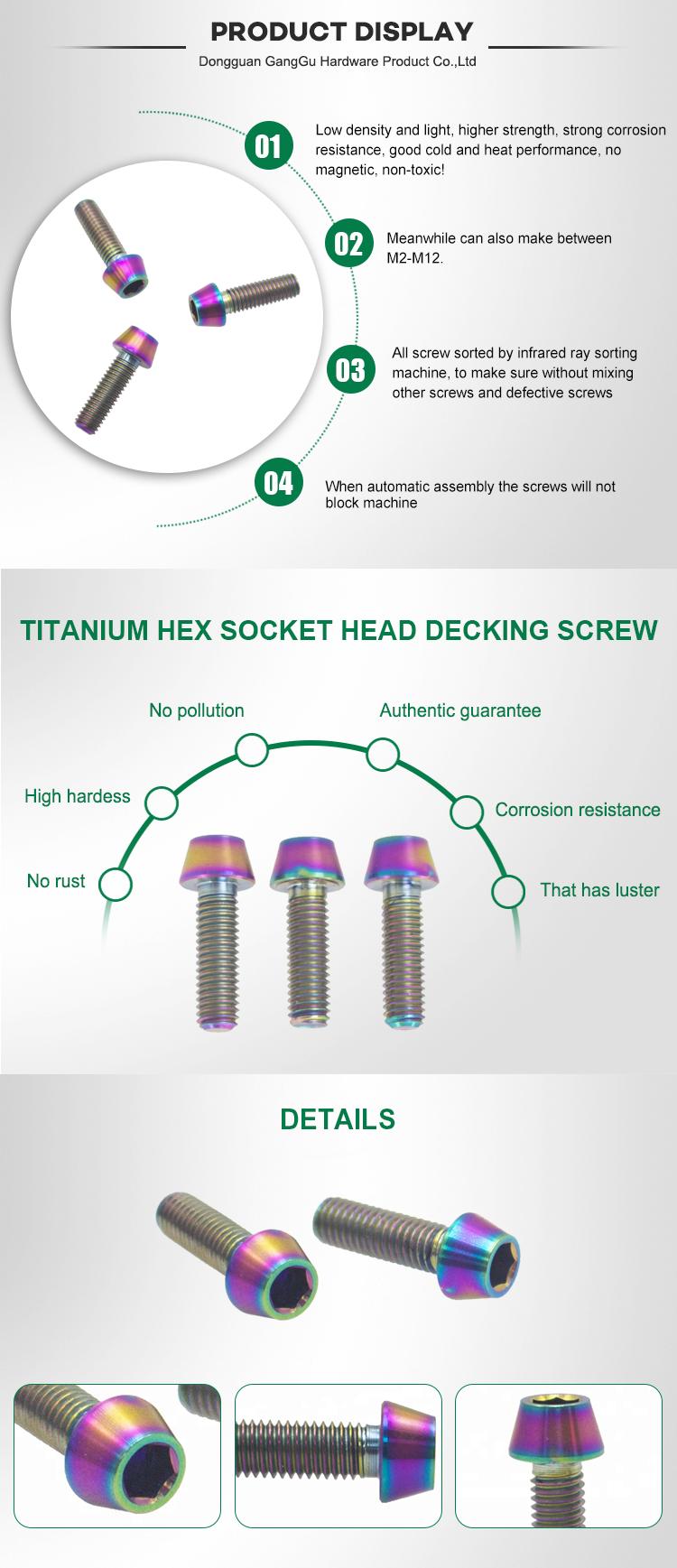 Di alta Qualità Testa Conica Vite In Titanio Bullone Dado M5