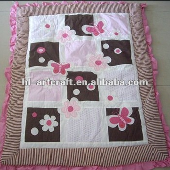 Butterfly And Flower Girl Applique Embroidery Baby Quilt Tops ...