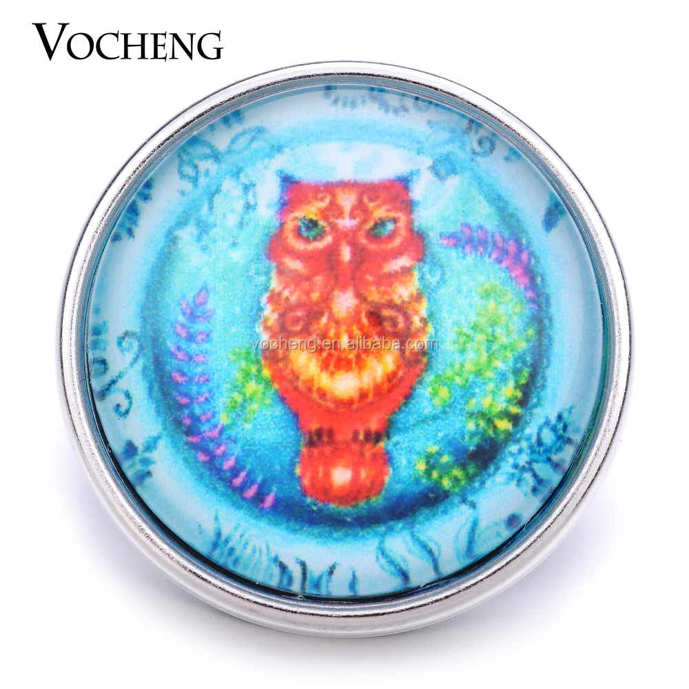 20PCS/Lot Wholesale Vocheng 18mm Owl Button Charm Glass Snap Jewelry Vn-<strong>1185</strong>*20 Free Shipping