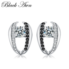 [BLACK AWN] 100% Genuine 925 Sterling Silver earrings Black&White Stone Cute Engagement Stud Earrings for Women T072