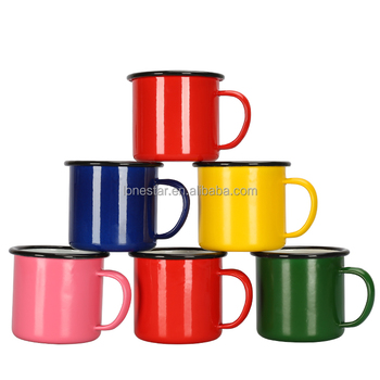 Colorful customized enamel camping mugs for wedding customization
