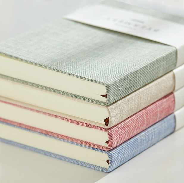 Perfect binding fabric linen cover writing notebook