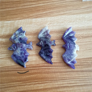 Natural polished hand carved fantasy amethyst crystal bats for healing
