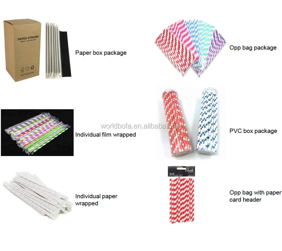 Custom printed biodegradable paper straws