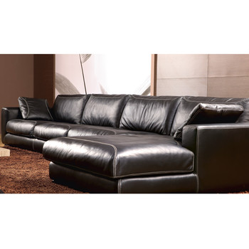 Latest Corner Sofa Design In Black Leather Sofa Set With Footrest - Black leather corner sofa