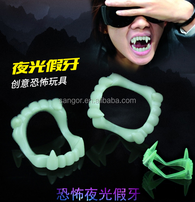 New 6 PC Vampire or Wolf Glow in the Dark Fangs Halloween Hot