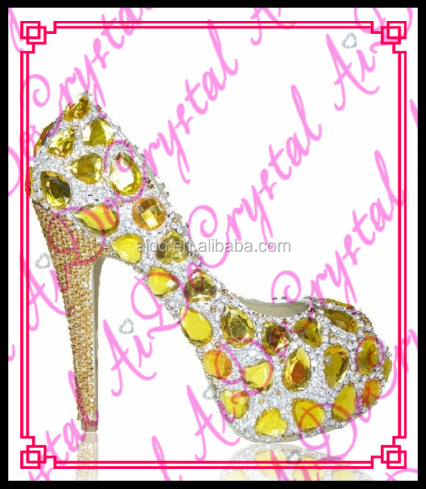 Aidocrystal 2016 Gold Yellow Peep Toe Platform Shoe diamond crystal high heels