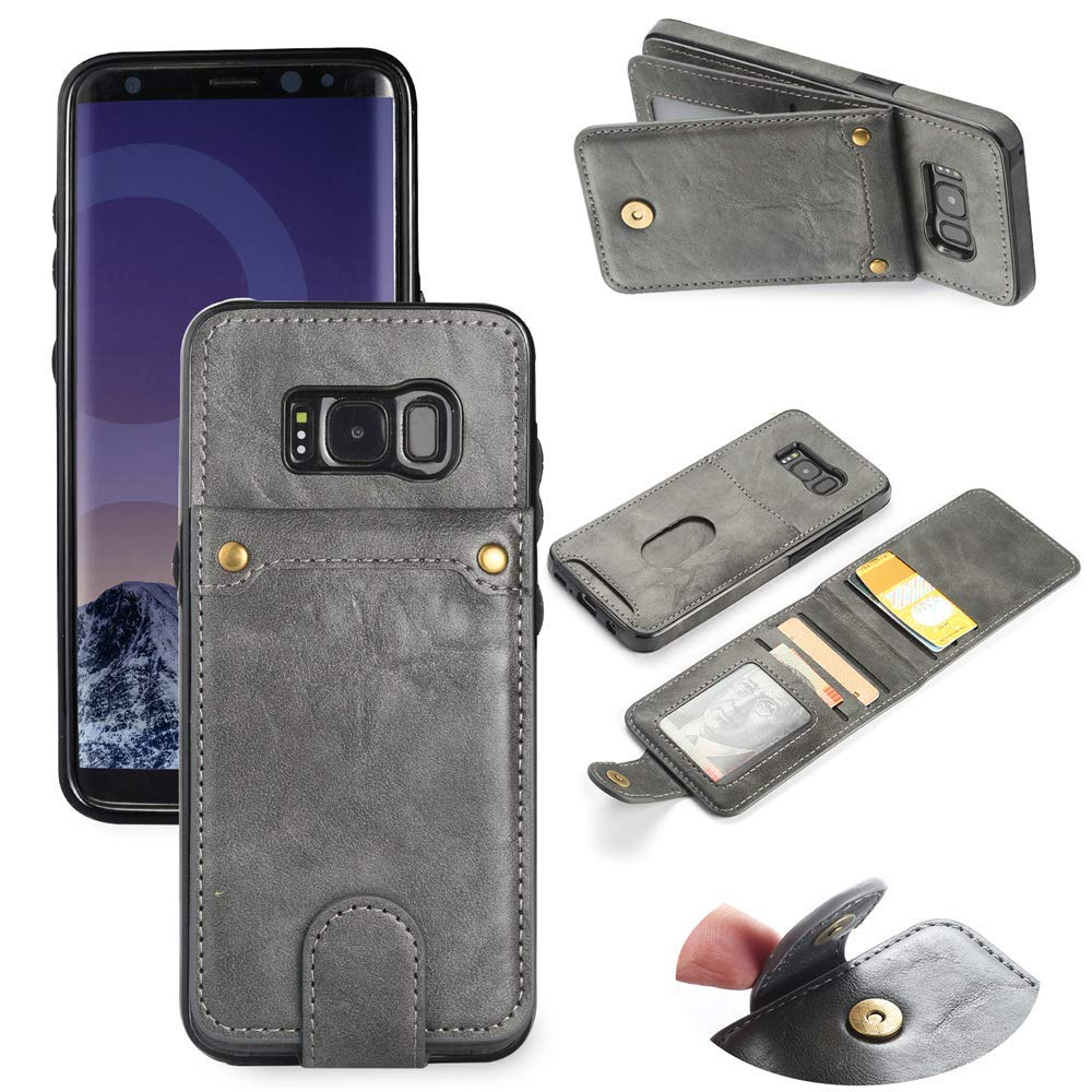 Scheam for Samsung Galaxy S8 Plus Case, [Extra Card Slot] [Wallet Case] PU Leather TPU Casing Excellence [Drop Protection] Case Compatible with Samsung Galaxy S8 Plus, Grey