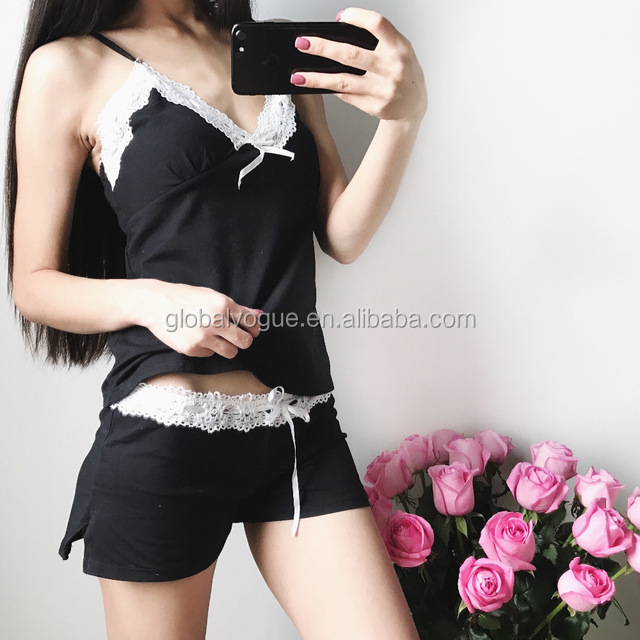 2017 Sexy Pajamas With Lace Cotton Strap Vest and Shorts Pyjama Femme Floral Fashion Sleepwear Women