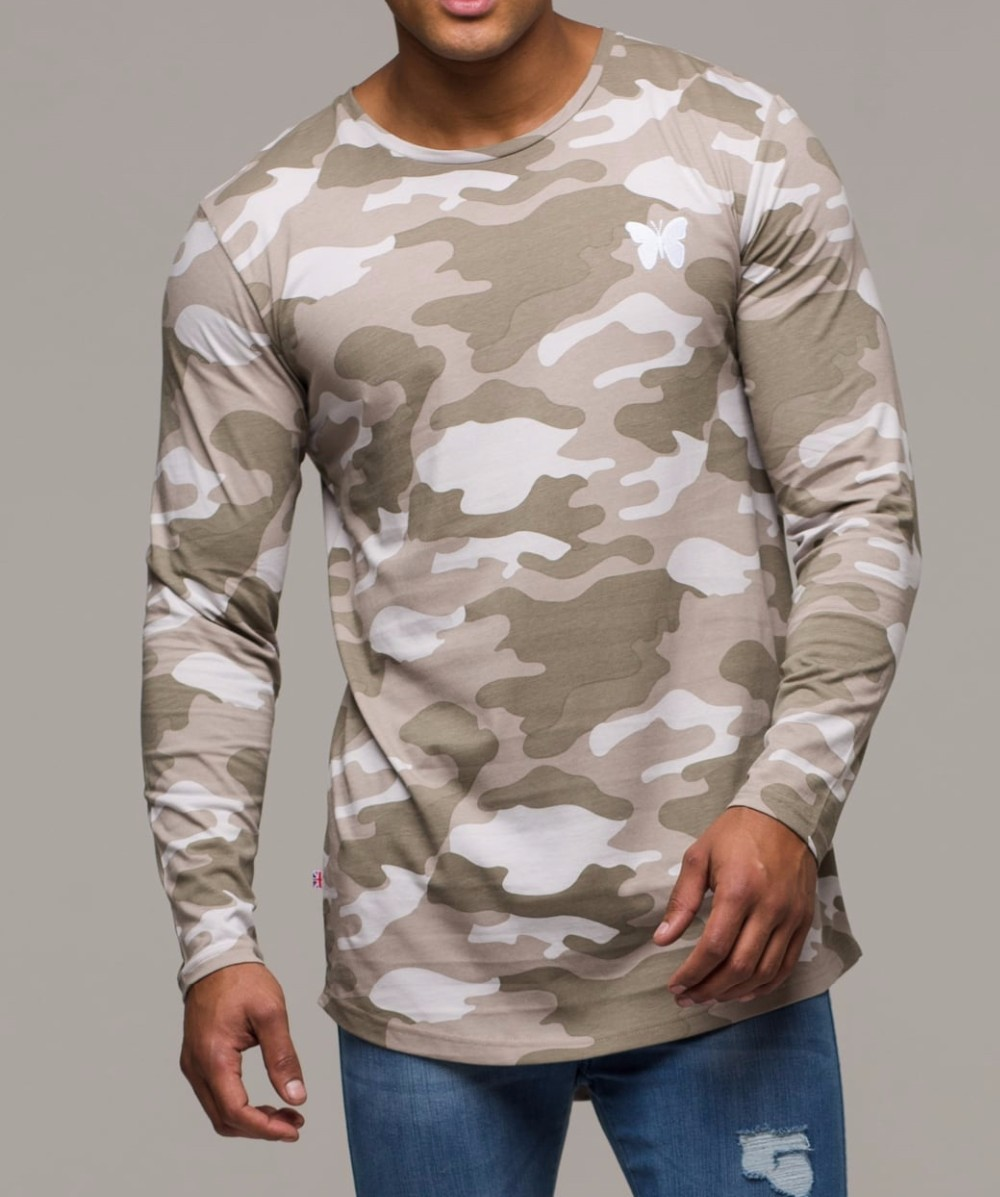 Camo Printing Long Sleeve 100 Polyester Round Neck T