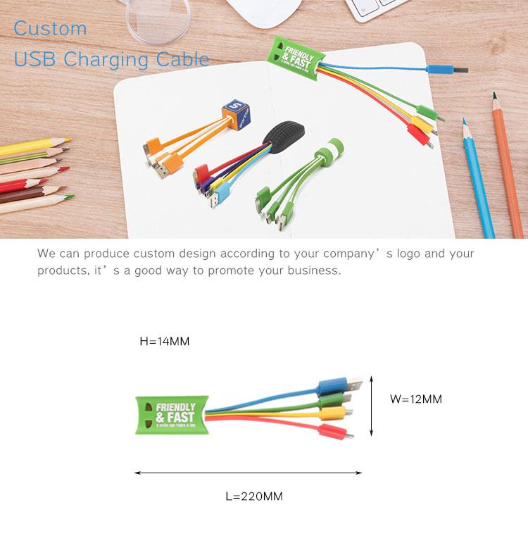 4 in 1 Angepasst Micro USB Kabel Led Licht Logo Multi USB Ladekabel