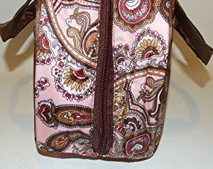 5698c59d43 ... Paisley Pink   Brown Nylon Insulated Lunch Tote Bag
