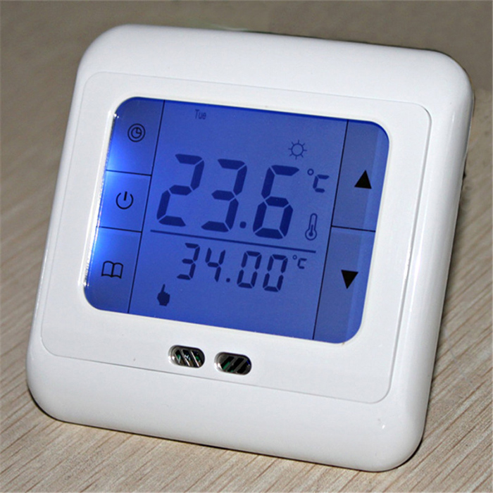 16A Thermostat for Room Floor Heating with Blue Backlight and Touch Screen Themostat