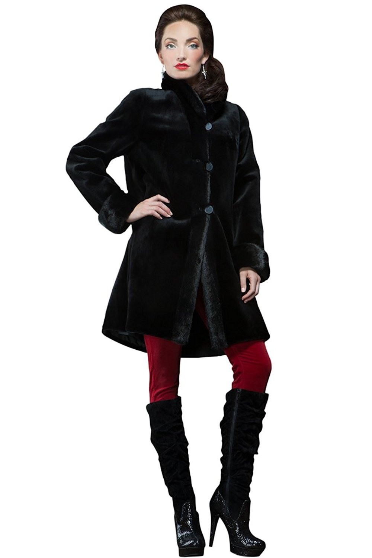EM-EL Women's Black Sheared Mink Reversible Mid-Length Fur Coat