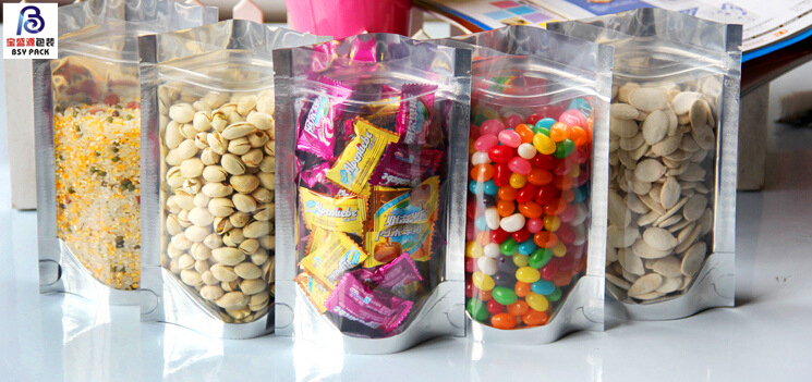 170mm*200mm+90mm Beautiful Color Moistureproof Food Safe Grade Plastic Laminated Resealable Stand Up Pouch Bag With
