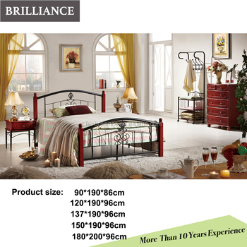 Wood Leg Metal Bed Frame Indian Wood Double Bed Designs