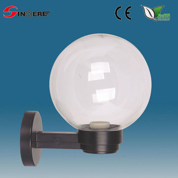 Outdoor White Plastic Or PMMA Wall Ball Light Globe Light Fixture With E27  Socket