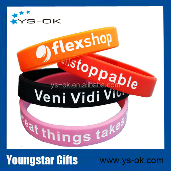2017 high quality personalized silicone promotional bracelet