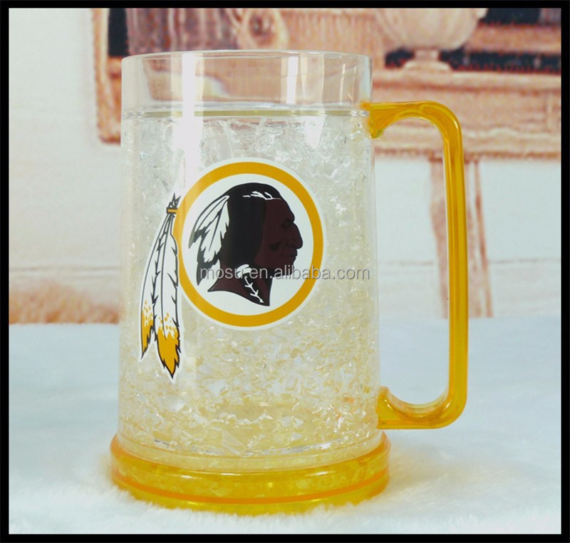 Frosted plastic Beer Stein,Unbreakable dimple tumbler with handle,double wall keep cold mug