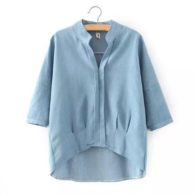 6c78edd12a0 Get Quotations · New Arrival 2015 Casual Womens Denim Shirt Short Sleeve  Womens Shirts European Style Denim Shirts S M