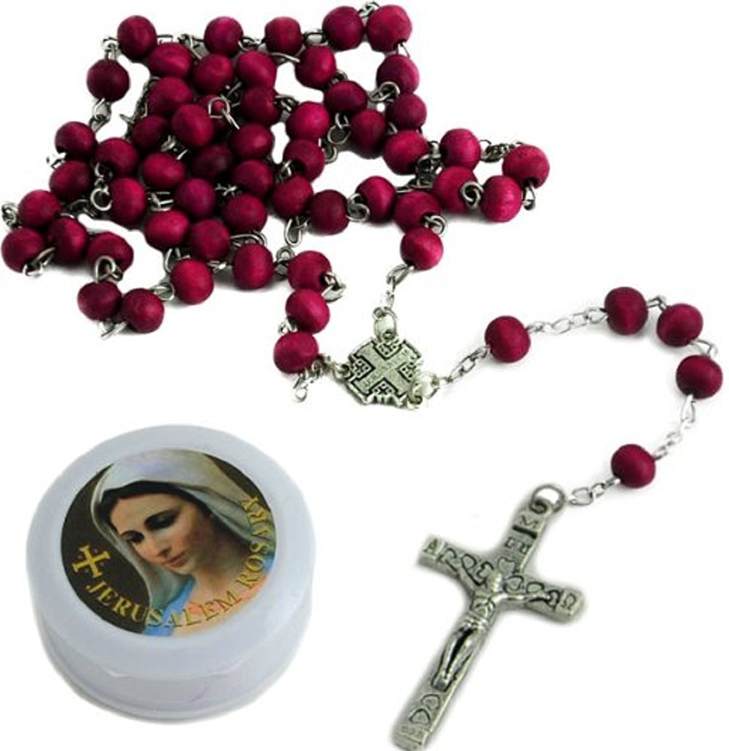 BLESSED CATHOLIC ROSARY NECKLACE Red Rose Scented Wood Beads Jerusalem Cross Crucifix in Gift Box by Talisman4U