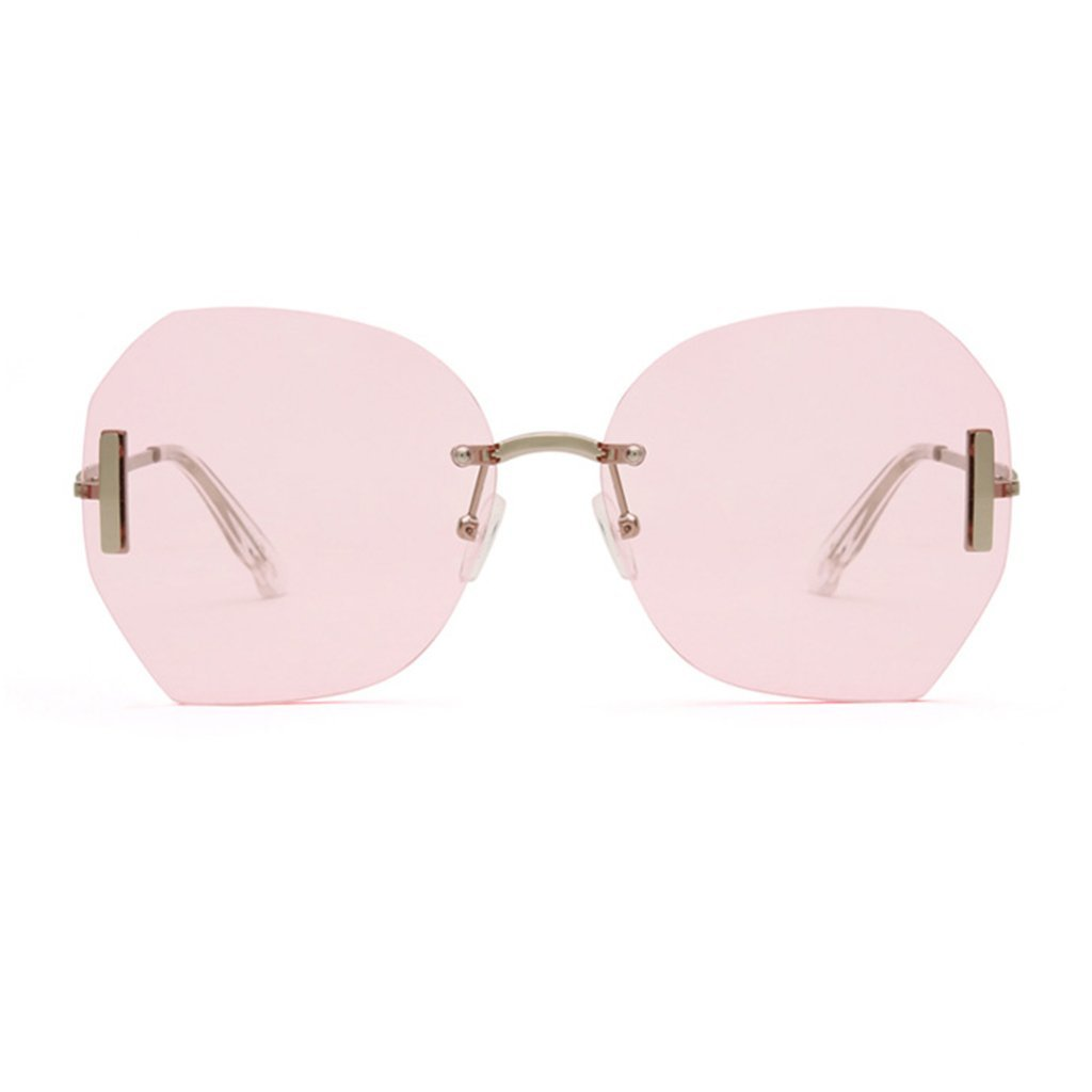 GAOYANG Frameless Crystal Cutting Face Gradient Retro Sunglasses Women Tide Sunglasses Female Fashion Glasses (Color : Candy powder)
