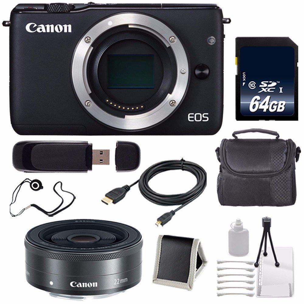 Canon EOS M10 Mirrorless Digital Camera Body Only (Black) (International Model No Warranty) + 64GB SDXC Class 10 Memory Card 6AVE Bundle 57