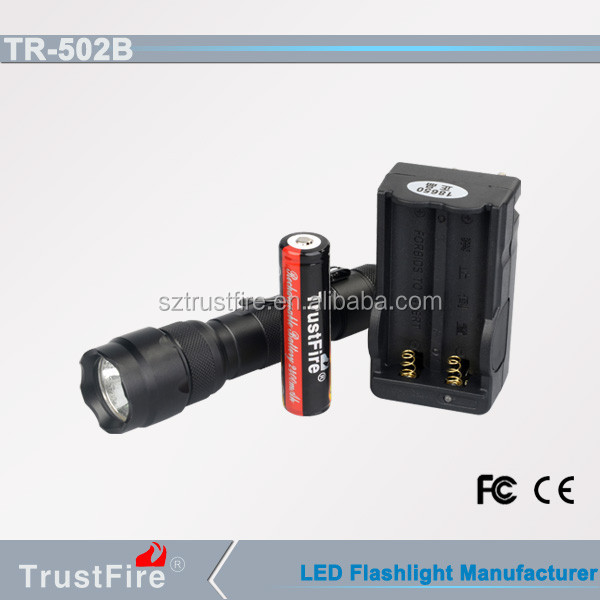 1000lm led flashlight, TrustFire 502B long distance super torch, led rechargeable floodlight