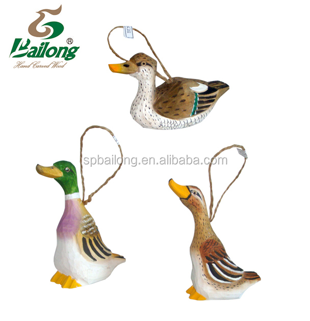 Hand Carved Wooden Ducks Ornament