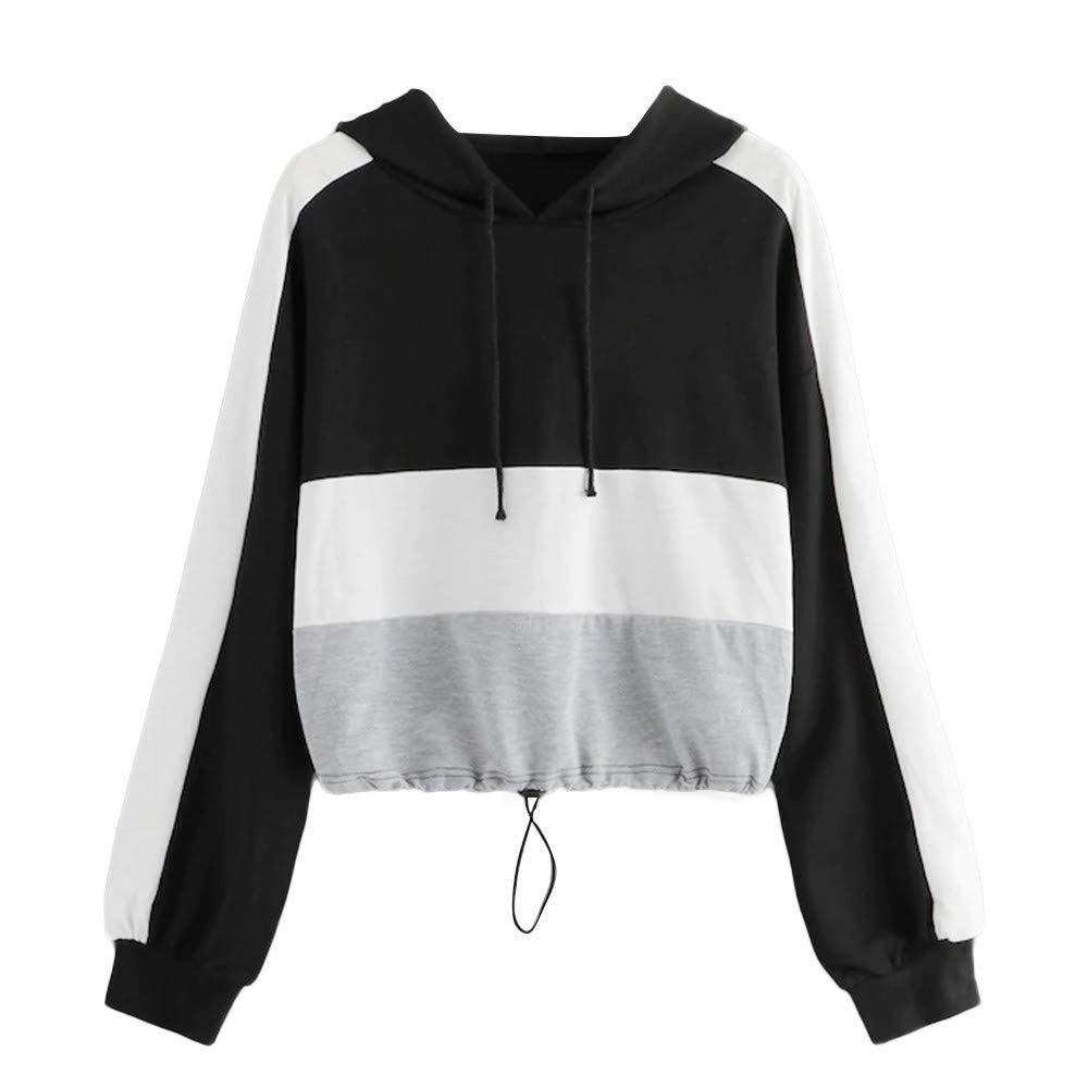 Amiley Women Fall Hoodies,Women Contrast Color Crop Tops Drawstring Hoodie Pullover Hooded Sweatshirt