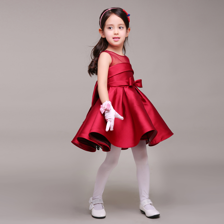 Dark Red Taffeta Little Girl Dress With Bow Round Neck Short Kids Formal Gown For ...