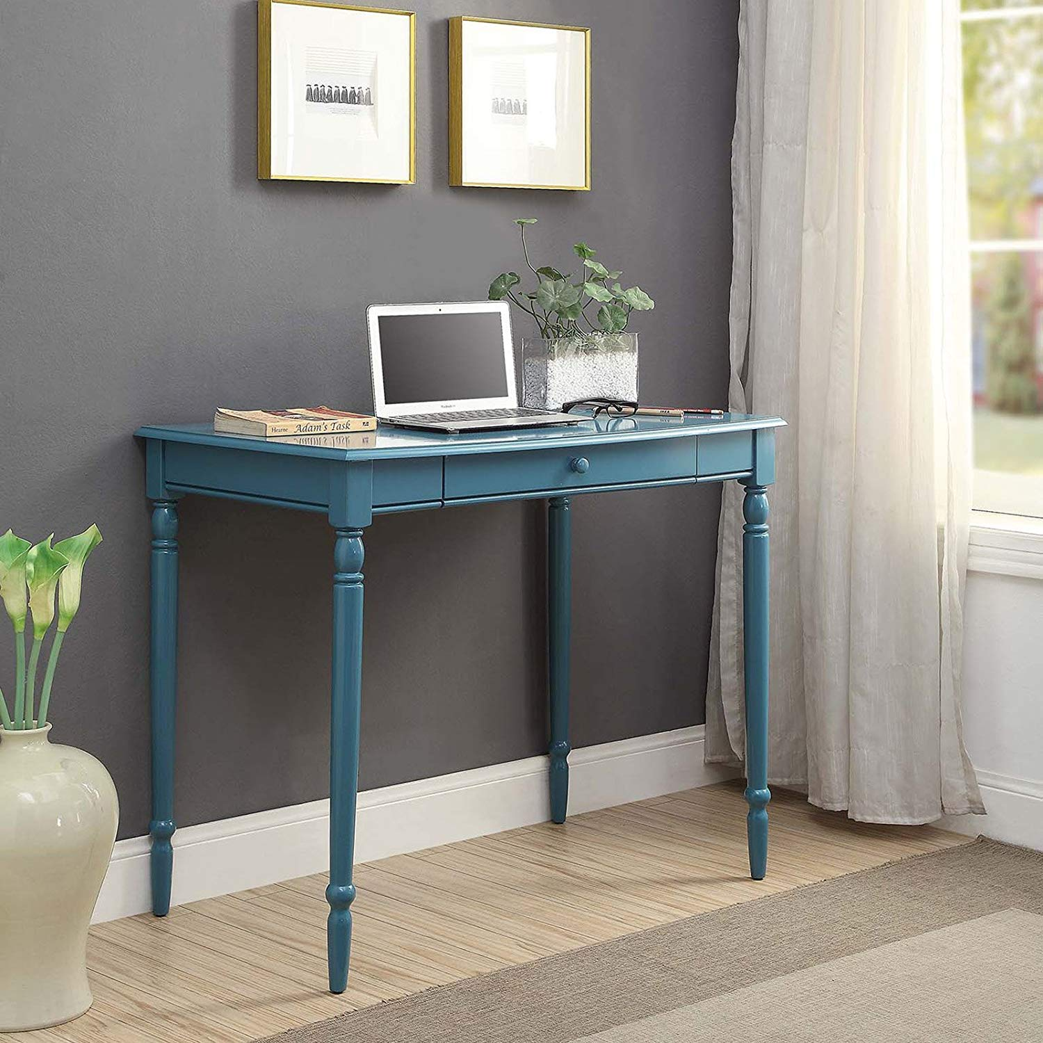 Blue Country Writing Desk, Office Furniture, Home, Keyboard Tray, Spacious Workspace, Solid Hardwoods, Wood, Indoor, Bundle with Our Expert Guide with Tips for Home Arrangement