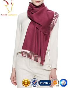 Pure Color Thick Cashmere Knitted Tassel Camel Scarf