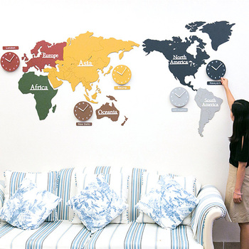 Creative Modern Mdf World Map Frameless World Time Zone Wall Clock - Where to buy a world map