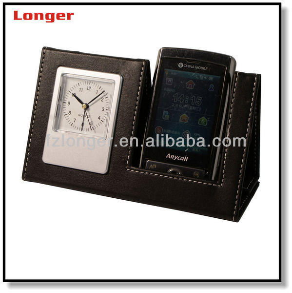 Fancy Pu Leather Mobile Phone Holder Desk With Clock Stand Desktop