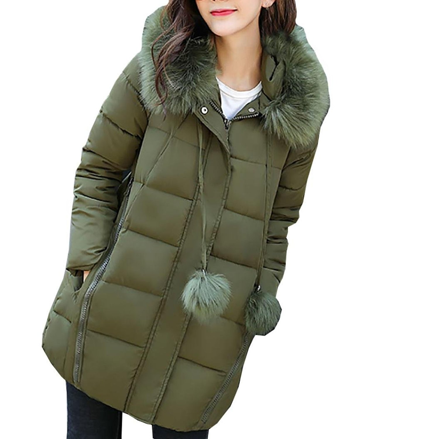 MMUA Women Solid Thicker Winter Slim Down Lammy Jacket Hair Collar Coat Overcoat