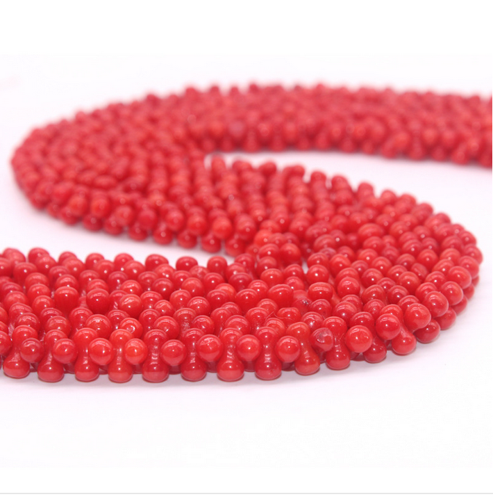 Wholesale natural loose gemstone coral beads peanut shape 8mm natural red coral beads