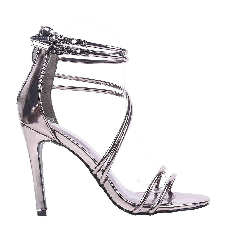 4d6a22d553 Get Quotations · Sweet eCom Women High Heels Sandals Stiletto Heels Strappy  Zipper Closure Buckle Adjustment Faux Patent Leather