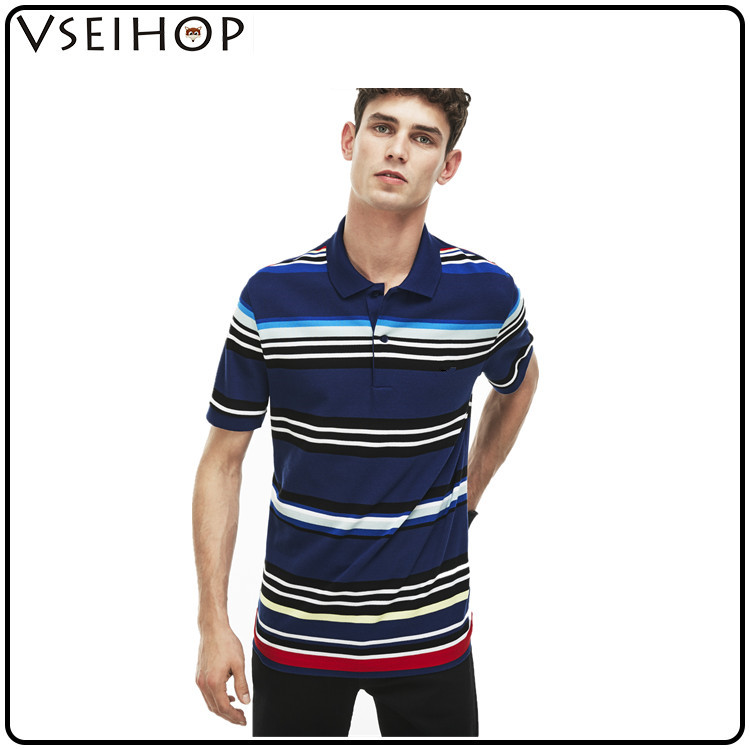 2017 hot sale mens polo shirt mens polo shirt custom a variety of colored stripes polo shirt design for man