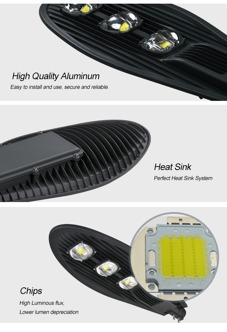 Outdoor IP65 waterproof bridgelux cob 150w led street light lamp