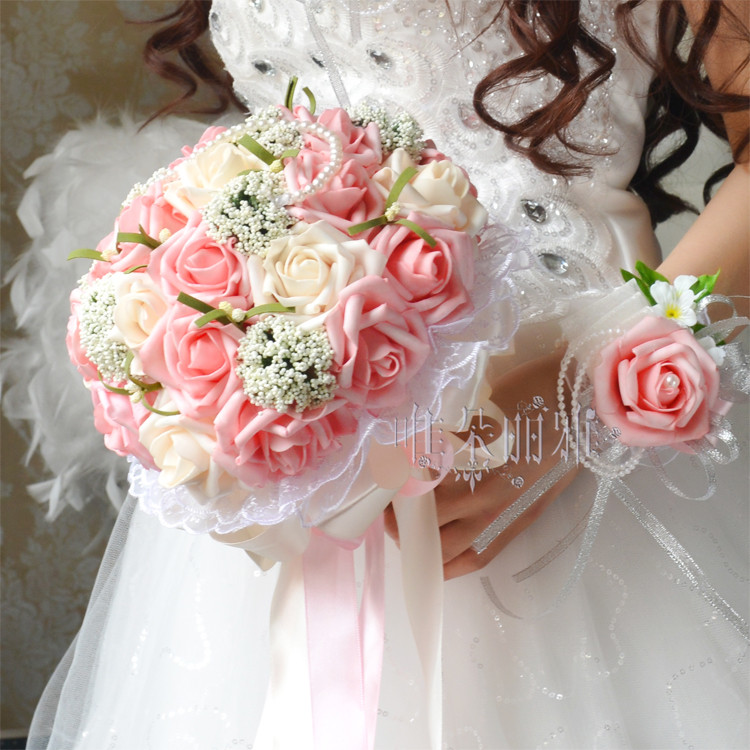 Inexpensive Flowers For Wedding Bouquets: 2016 Bridal Bridesmaid Wedding Bouquet Cheap New Arrival
