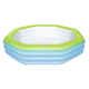 Bestway heavy duty vinyl pool inflatable 3 rings colorful octagon family swimming pools include 4 cup holders