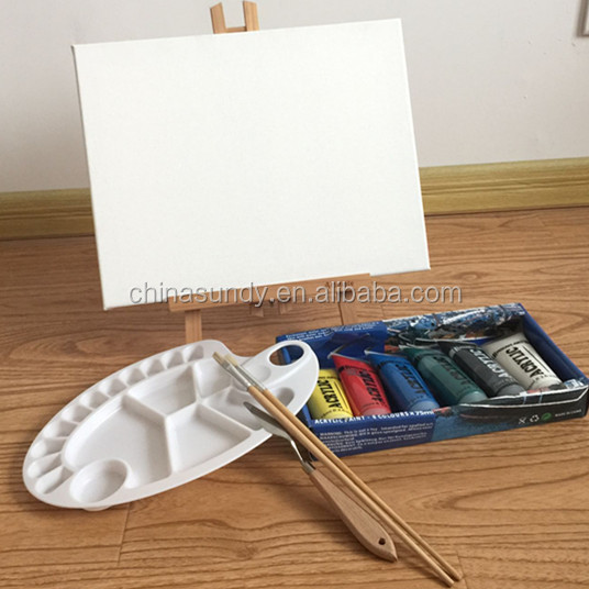 wonderful painting set stretched canvas wooden easels palette knife and brushes