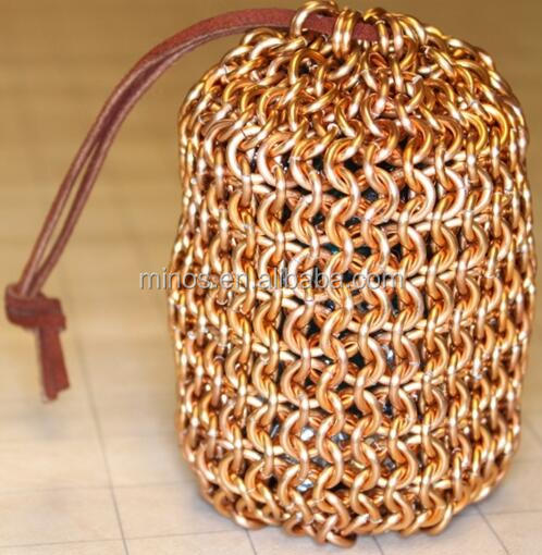 Gold Plated Chainmail Dice Bag, Stainless Steel Mesh Bag Made In China