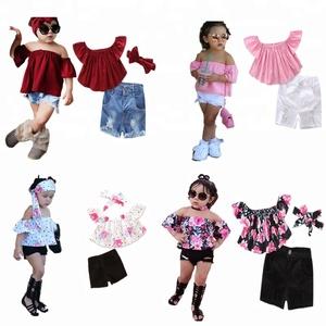 744d171e85c9d Trend 2019 Wholesale Children's Boutique Clothing 2 Piece Flower Lemon  White Tail White Tops Jean Shorts Sets