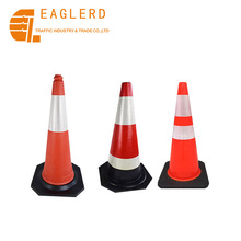 Reflective Tape PVC Rubber Plastic Traffic Cone With Rubber Base