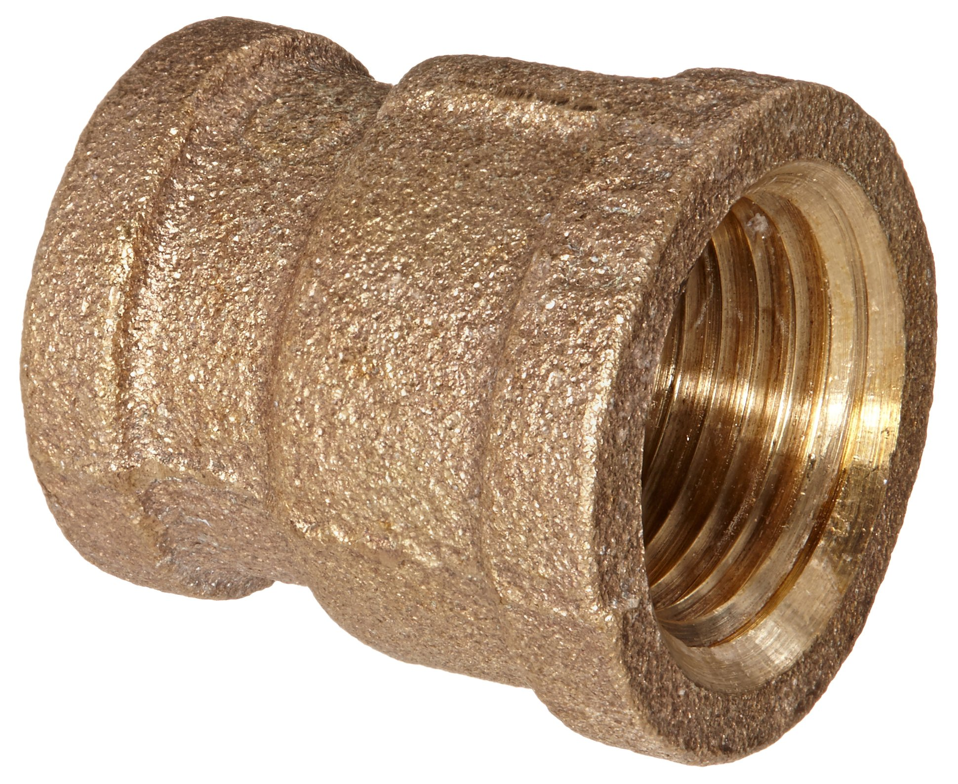 "Anderson Metals 38119 Red Brass Pipe Fitting, Reducing Coupling, 1/2"" x 3/8"" Female Pipe"