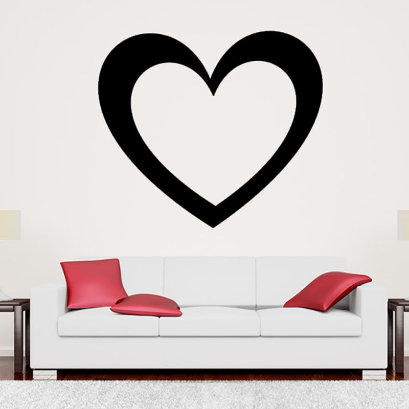 Simple Design Hollow Out Heart Living Room Wall Decal Vinyl Removable Adhesive Home Decor Wall Sticker