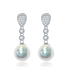 newest latest large baroque fresh water pearl earring designs